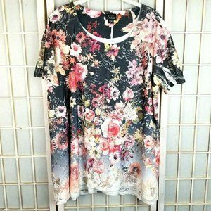 Simply Emma 2X Romantic Floral Tee Shirt Lined